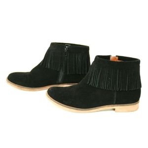 Lucky Brand Galley Black Suede Booties with Fringe